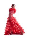 Frauenflamencotänzer im roten Kostüm getrennt Stockfotografie