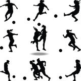 Frauenfußballspieler-Schattenbildvektor Stockbild