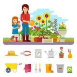 Frauengärtner pflanzt eine Blume und kümmert sich um dem Blumengarten Gartenarbeitflache Illustration des vektors, infographic lizenzfreie abbildung