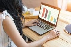 Frauengebrauch der Laptop-Computers, selektiver Fokus, fokussiert auch sof Lizenzfreie Stockfotografie