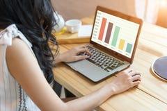 Frauengebrauch der Laptop-Computers, selektiver Fokus, fokussiert auch sof Stockfotografie