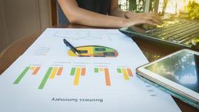 Frauengebrauchscomputer für Arbeit mit Geschäftszusammenfassungs- oder Unternehmensplanbericht mit Diagrammen und Diagrammen im G Stockbilder