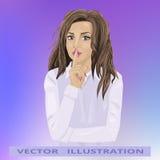 Frauengeheimnis, schönes Mädchen, das Geste shhh zeigt Stockbilder
