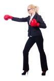 Frauengeschäftsfrau mit Boxhandschuhen Lizenzfreie Stockfotografie