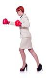 Frauengeschäftsfrau mit Boxhandschuhen Lizenzfreies Stockfoto