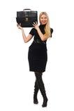 Frauengeschäftsfrau mit dem Aktenkoffer an lokalisiert Stockbild