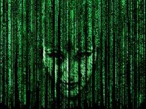 Frauengesicht im Matrixhintergrund Lizenzfreie Stockfotografie