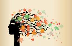 Frauengesicht und Herbstblätter lizenzfreie abbildung
