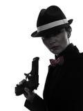 Frauengewehrgangster-Mörderschattenbild Stockbild