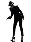 Frauengewehrgangster-Mörderschattenbild stockfoto