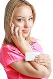 Frauengriffkarte und -telefon Lizenzfreie Stockbilder