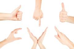 Frauenhände auf weißem Hintergrund Stockfoto