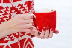Frauenhände, die Becher mit heißer Schokolade halten lizenzfreie stockbilder