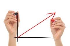Frauenhände, die ein Wachstumsdiagramm zeichnen Stockfoto
