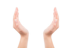 Frauenhände, die etwas unsichtbar halten Lizenzfreies Stockbild