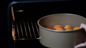 Frauenhände, die Schokoladenkuchen für das Backen in den Ofen setzen stock footage