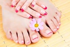 Frauenhände und -füße mit rosafarbener Maniküre lizenzfreies stockfoto