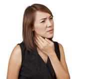 Frauenhalsschmerzen. Stockfotografie