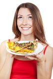 Frauenhalteplatte mit Stücken Pizza Lizenzfreies Stockbild