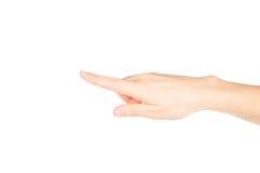 Frauenhand auf weißem Hintergrund stockfotografie