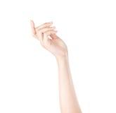 Frauenhand auf weißem Hintergrund Stockfotos