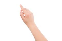 Frauenhand, die auf etwas sich berührt oder zeigt Stockfotos