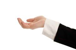 Frauenhand, die, Bitten, stellend empfängt dar. Stockfoto