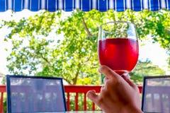 Frauenhand, die ein Glas Rotwein hält Lizenzfreie Stockbilder