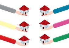 Frauenhand, die ein Haus hält vektor abbildung