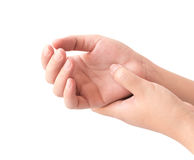 Frauenhand, die ihr Handgelenk auf weißem Hintergrund, Gesundheitswesen hält stockbilder