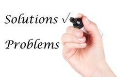 Wählen der Lösungen anstelle der Probleme Stockfotografie