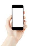 Frauenhand, die Smartphone auf Weiß hält Stockbilder