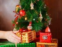 Frauenhand, die Weihnachtspräsentkarton unter Weihnachtsbaum setzt lizenzfreie stockbilder
