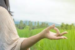 Frauenhand, die Yoga und Meditation über Naturgrünfeld tut Stockbilder