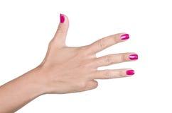 Frauenhand, die Zeichen vier macht Lizenzfreies Stockfoto