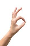 Frauenhand im okayzeichen an Stockfoto