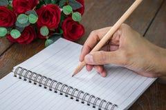 Frauenhand mit Bleistiftschreiben auf Notizbuch Stockbilder