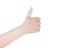 Frauenhand mit dem Daumen oben lokalisiert auf weißem Hintergrund Lizenzfreie Stockbilder