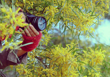 Frauenhand mit Kamera Stockbilder