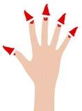 Frauenhand mit Sankt-Hüten Lizenzfreies Stockbild
