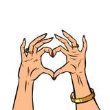 Frauenhandgesten-Herzliebe Romanze Valentinstag lizenzfreie abbildung