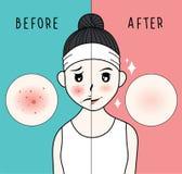Frauenhautpflege und Schönheitsillustration lizenzfreie abbildung