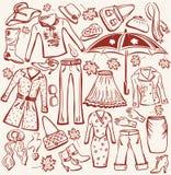 Frauenherbst Kleidung und accesso lizenzfreie abbildung