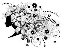 Frauenhexeblumen im Haar Stockbild