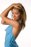 Frauenhimmelblau-Kleidaugen stockfoto