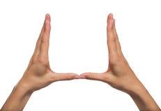Frauenhände, die etwas unsichtbar halten Stockfotografie