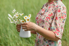 Frauenhände halten Blumenstrauß von frischen wilden Gänseblümchen im Vase Lizenzfreies Stockbild