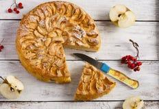 Frauenholding, die Apfelkuchen zeigt Stockbild