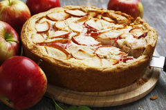 Frauenholding, die Apfelkuchen zeigt charlotte Stockbilder