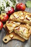 Frauenholding, die Apfelkuchen zeigt charlotte Lizenzfreies Stockbild